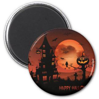 Halloween graveyard scenes pumpkin bats moon 6 cm round magnet