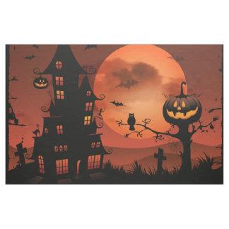 Halloween graveyard scenes pumpkin bats moon fabric