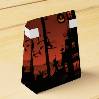 Halloween graveyard scenes pumpkin bats moon favour box