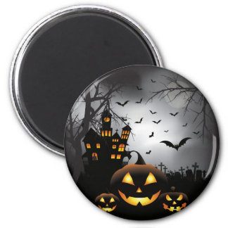 Halloween graveyard scenes pumpkin haunted house 6 cm round magnet