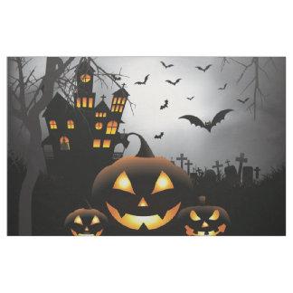 Halloween graveyard scenes pumpkin haunted house fabric