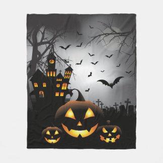 Halloween graveyard scenes pumpkin haunted house fleece blanket
