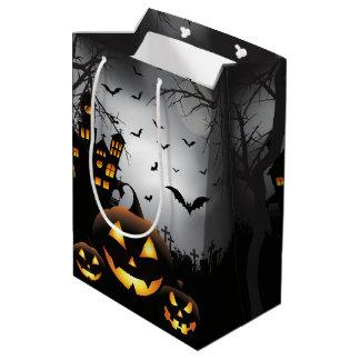 Halloween graveyard scenes pumpkin haunted house medium gift bag