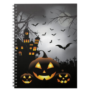 Halloween graveyard scenes pumpkin haunted house notebook