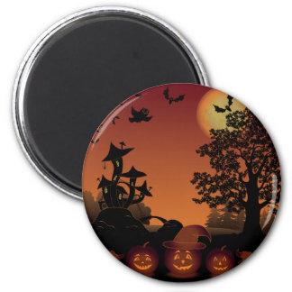 Halloween graveyard scenes pumpkins bats moon 6 cm round magnet
