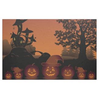 Halloween graveyard scenes pumpkins bats moon fabric