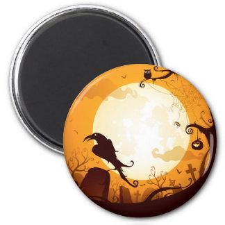Halloween graveyard scenes, raven, pumpkin, spider 6 cm round magnet
