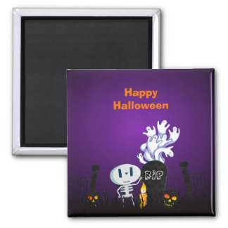 Halloween Graveyard Spooky Cute Skeleton & Ghosts Square Magnet