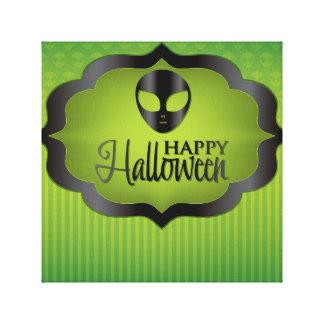 Halloween green alien canvas print