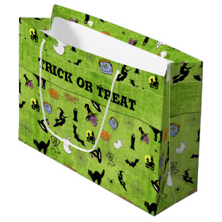 Halloween Green Collage Pattern - Trick or Treat Large Gift Bag