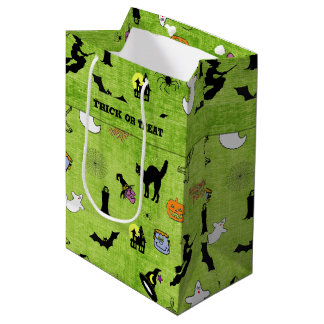 Halloween Green Collage Pattern - Trick or Treat Medium Gift Bag