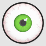 Halloween Green Eyeball Classic Round Sticker