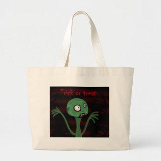 Halloween green monster large tote bag