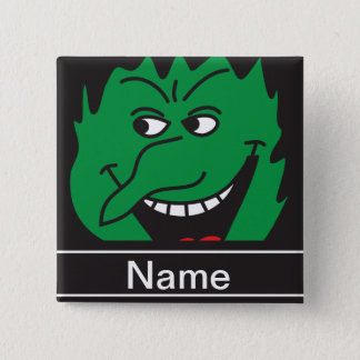 Halloween Green Witch Face Personalize 15 Cm Square Badge