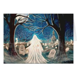 Halloween Greeting Card,graveyard,ghost,tombstones Card