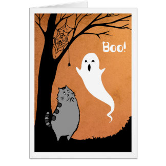 Halloween Greeting Card Kitty and Ghost