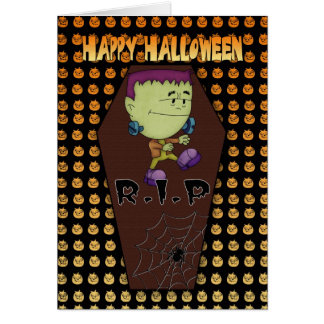 halloween greeting card with little frankie
