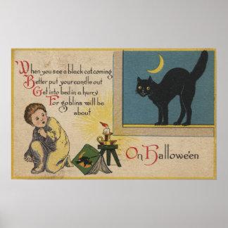 Halloween GreetingBlack Cat Poster