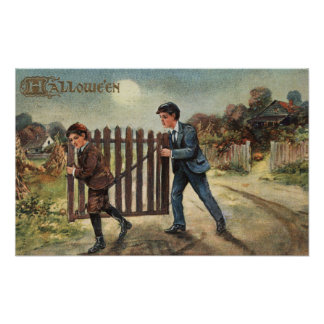 Halloween GreetingBoys Carrying Fence Poster