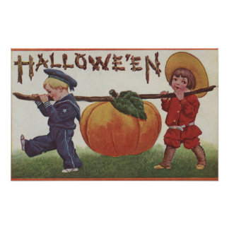 Halloween GreetingCarrying Pumpkin Poster