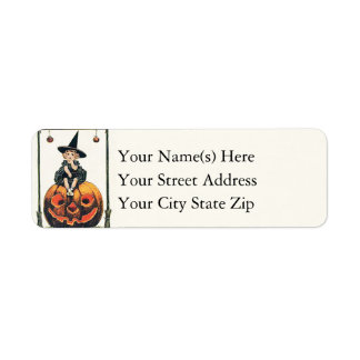 Halloween Greetings From Little Witch Vintage Return Address Label
