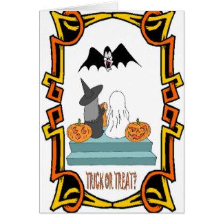 Halloween greetings, Trick or treat Greeting Cards