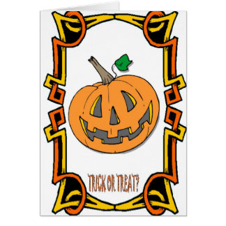 Halloween greetings Trick or treat Greeting Cards