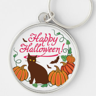 Halloween greetings with black cat Silver-Colored round key ring