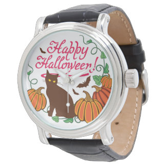 Halloween greetings with black cat watches