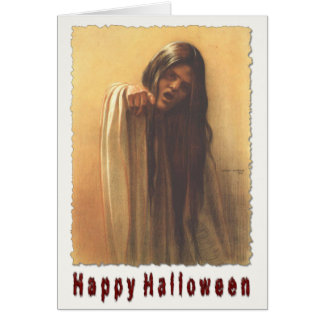 Halloween Greetings With Spooky Girl Greeting Card