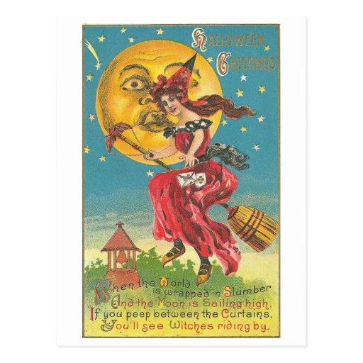 Halloween Greetings Woman On Broom Post Cards