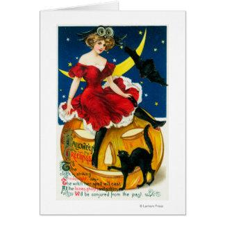 Halloween Greetings Woman on Jack-o-Lantern Greeting Card
