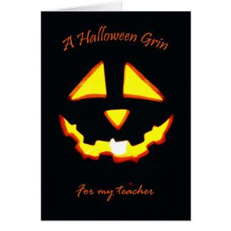 Halloween Grin for Teacher, Jack o' Lantern Greeting Card