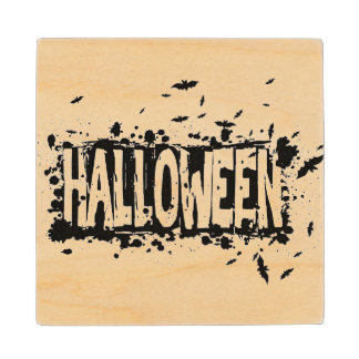Halloween Grunge Silhouette Background Maple Wood Coaster