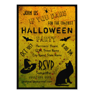 Halloween Grungy Blood Crazy Party Invitation
