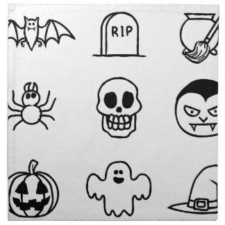 Halloween Hand Drawn Icon Set Napkin
