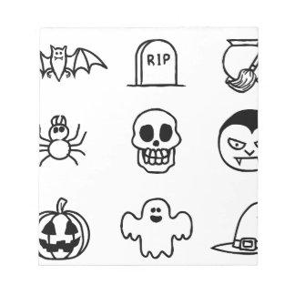 Halloween Hand Drawn Icon Set Notepad
