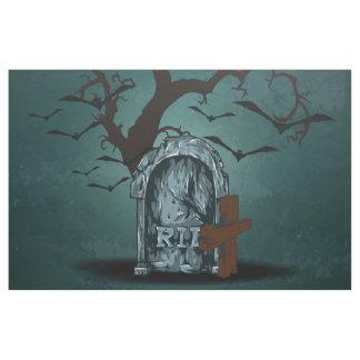 Halloween happy haunting grave RIP dead tree, bats Fabric