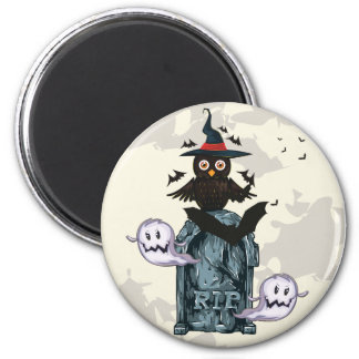 Halloween happy haunting owl and grave 6 cm round magnet