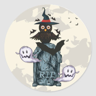 Halloween happy haunting owl and grave classic round sticker