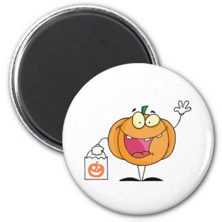 Halloween Happy Pumkin With Bag 6 Cm Round Magnet