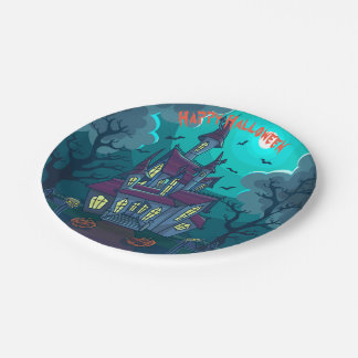 "Halloween Haunted House 7"" Paper Plates"