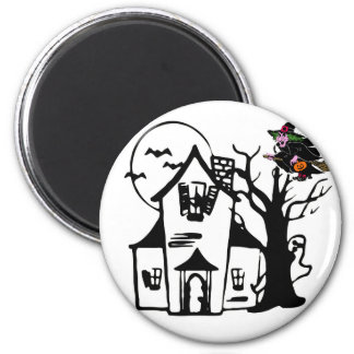 Halloween haunted house and witch 6 cm round magnet