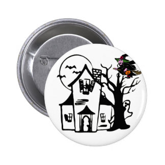 Halloween haunted house and witch buttons