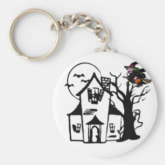 Halloween haunted house and witch basic round button key ring