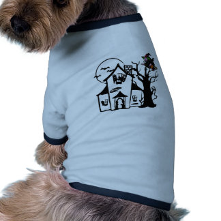 Halloween haunted house and witch doggie tee