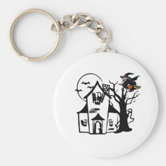 Halloween haunted house and witch keychains