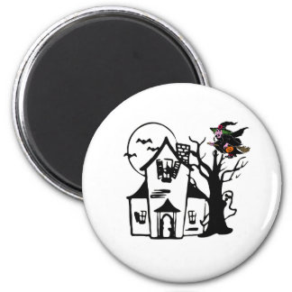 Halloween haunted house and witch refrigerator magnet