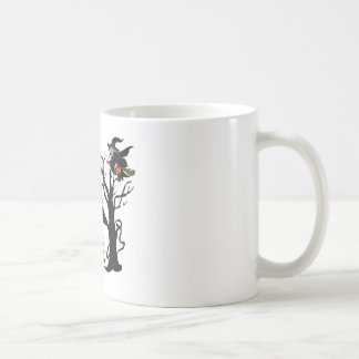 Halloween haunted house and witch mugs