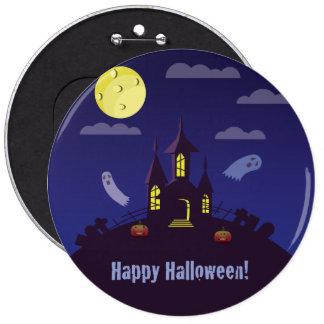 Halloween Haunted House – Blue 6 Cm Round Badge